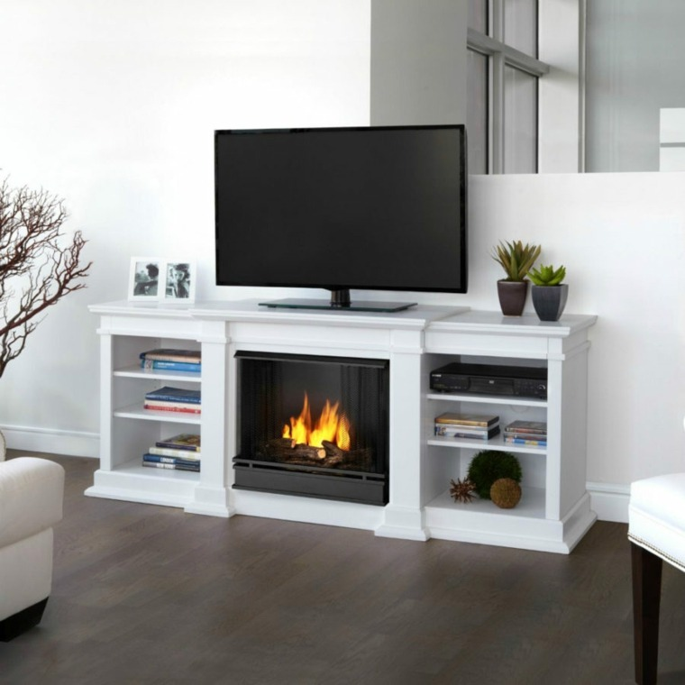 Muebles para TV con dise241o moderno a la 250ltima : muebles TV chimenea diseno original salon blanco from casaydiseno.com size 760 x 760 jpeg 224kB