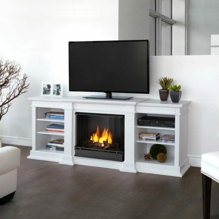 muebles tv chimenea diseno original salon blanco ideas