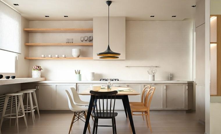 muebles comedor diseno elegante lujoso blanco negro madera ideas
