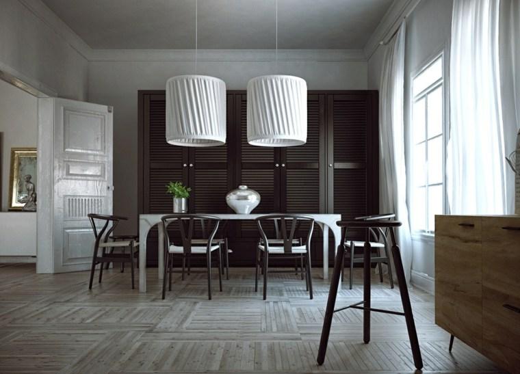 muebles comedor diseno elegante lujoso blanco negro ideas