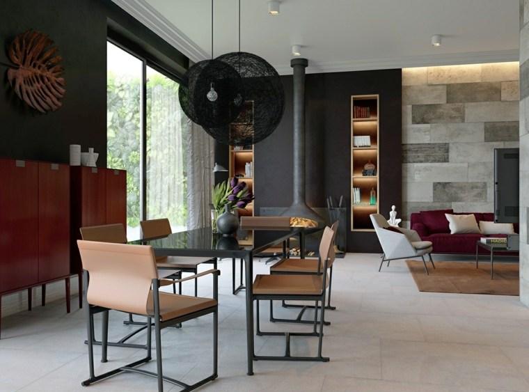 muebles comedor diseno elegante lujoso paredes negras ideas