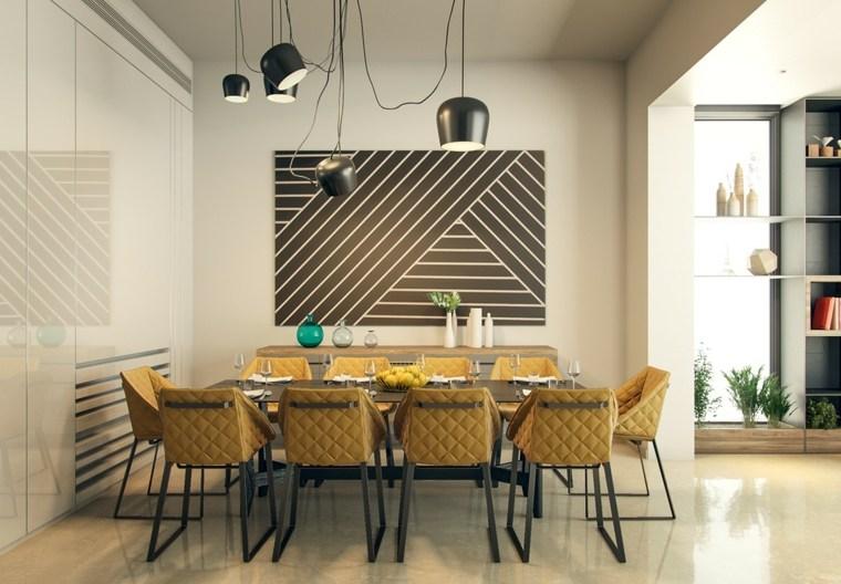 muebles comedor diseno elegante lujoso tema geometrico ideas