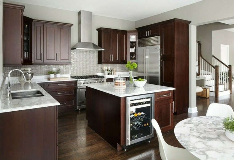 muebles de madera cocina blanca