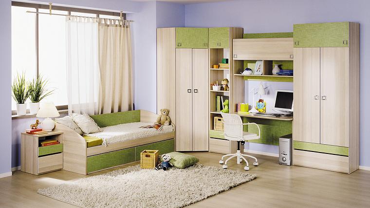 muebles dormitorio ninos color verde diseno moderno ideas