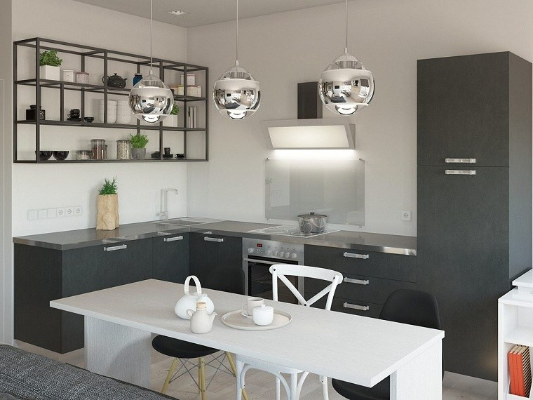 muebles grises ambientes comedores metales