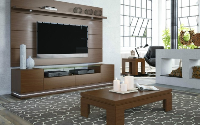 muebles para tv diseno madera combinacion mesa salon ideas