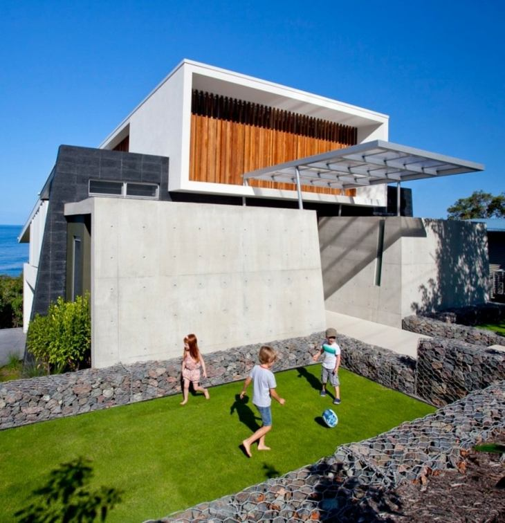gabion walls designed house Aboda Design Group ideas