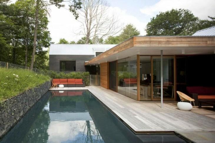 muros de gaviones casa moderna diseno jardin piscina ideas