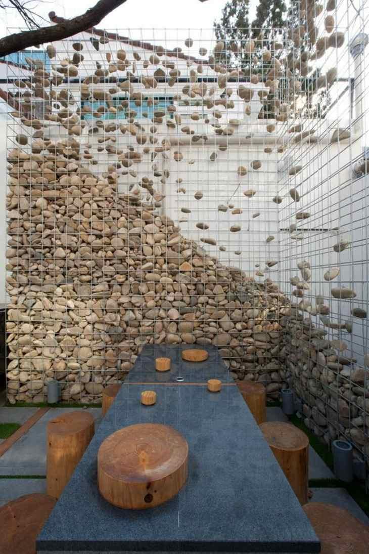 Muros de gaviones para decorar en jard n for Decoracion de jardines y muros exteriores