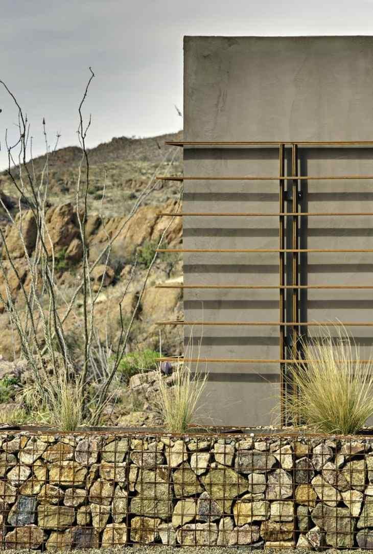 muros de gaviones jardin casa moderna ideas