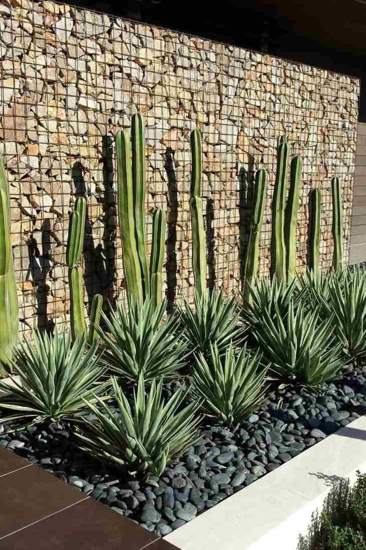 muros de gaviones jardin seco rocoso diseno moderno ideas