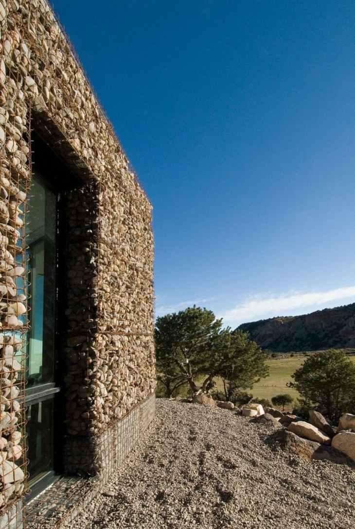 muros de gaviones paredes casa moderna colina ideas
