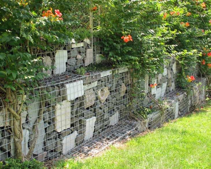 gabion walls plants flowers garden decoration ideas
