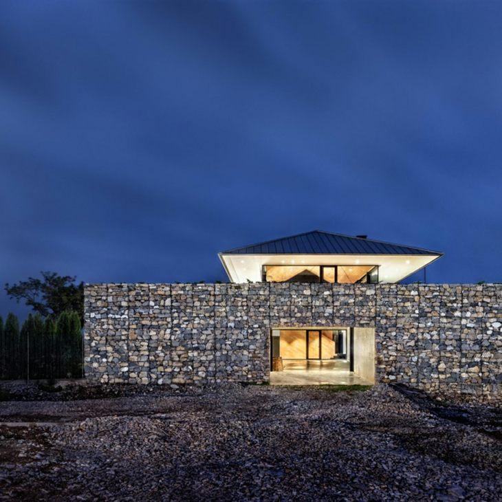 muros gaviones casa montana entrada original arquitectura ideas