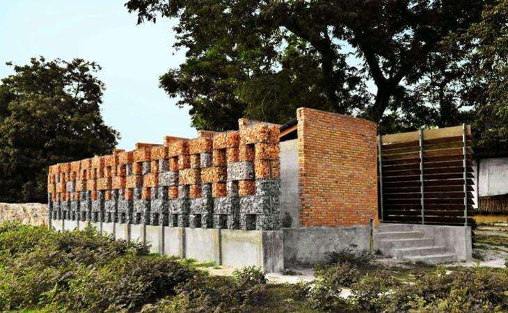 muros gaviones combinacion distintas piedras ideas