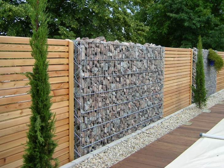 gabion walls combination wood panels ideas