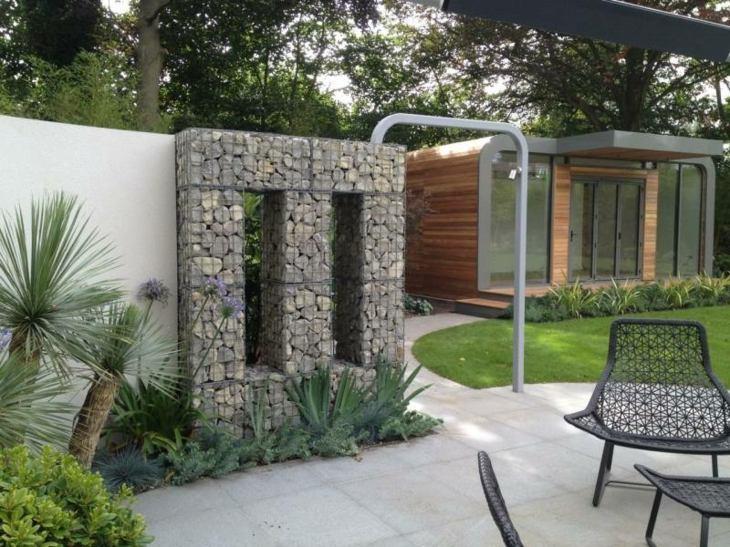 muros gaviones jardin amplio lugar descanso opciones ideas