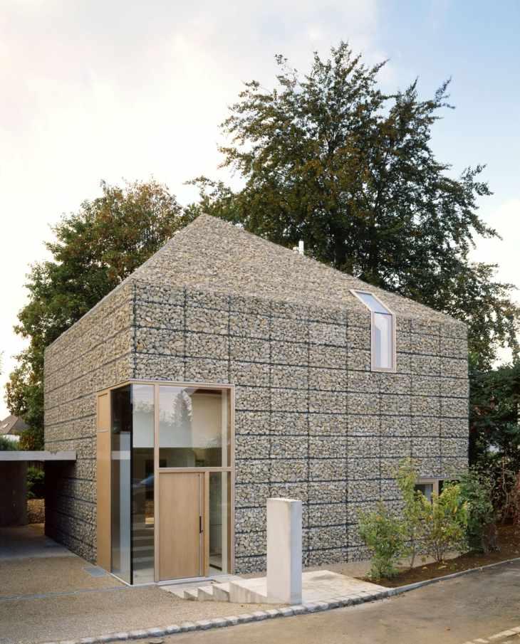 muros gaviones paredes techo casa entera arquitectura interesante ideas