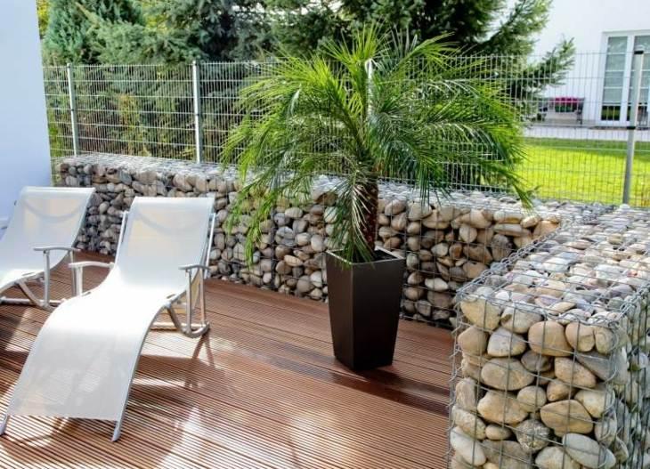 gabion walls terrace contemporary design ideas