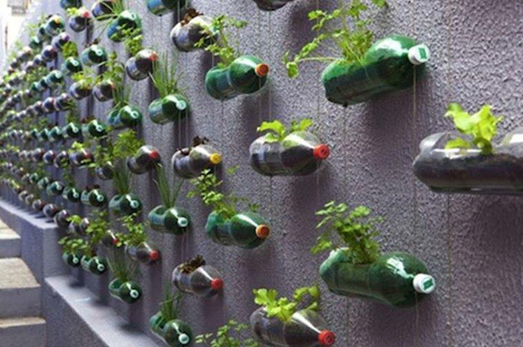muros verdes verticales botellas