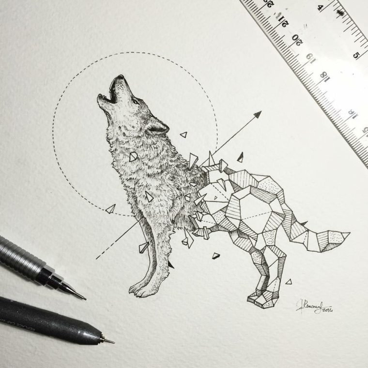 original diseno tatuaje lobo