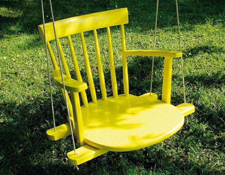 original columpio silla vieja amarilla