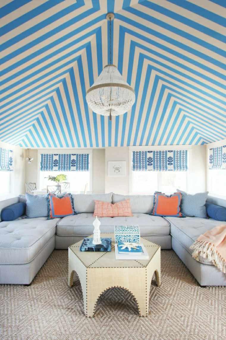 original diseno techo bandas azules