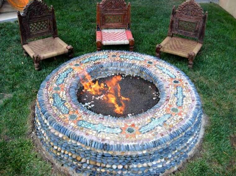 original chimenea pozo fuego mosaicos