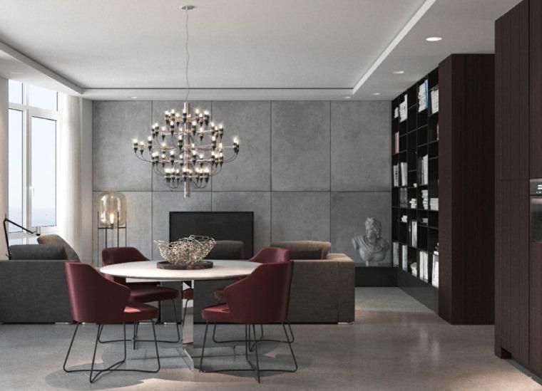 original diseño comedor paredes cemento