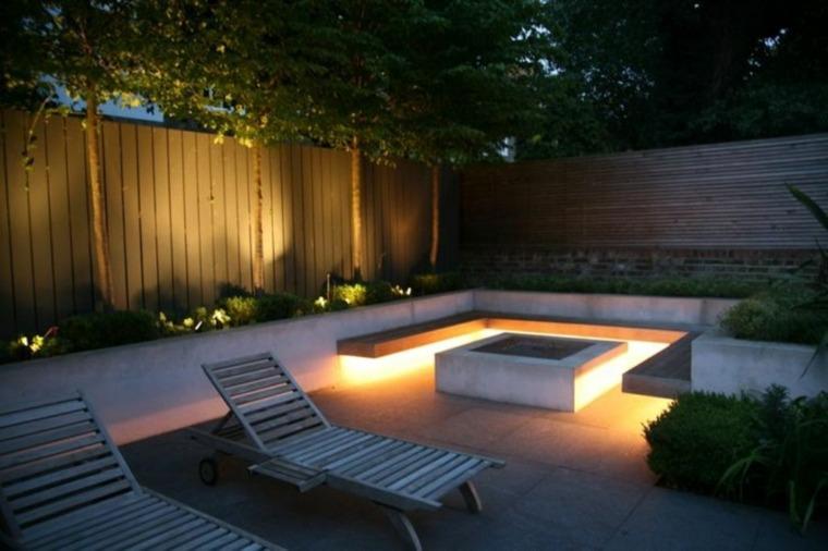 original diseño patio chimenea moderna