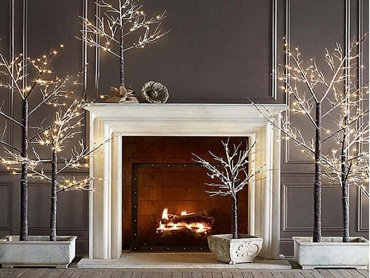ornamentación navideña árboles chimenea