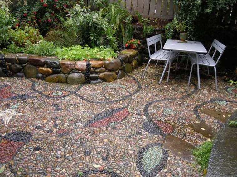 oroginales mosaicos suelo jardines