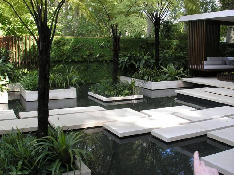 paisajes hermosos jardines diseno moderno estanque losas blancas ideas