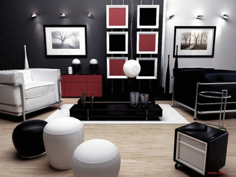 paneles decorativos paredes negro rojo