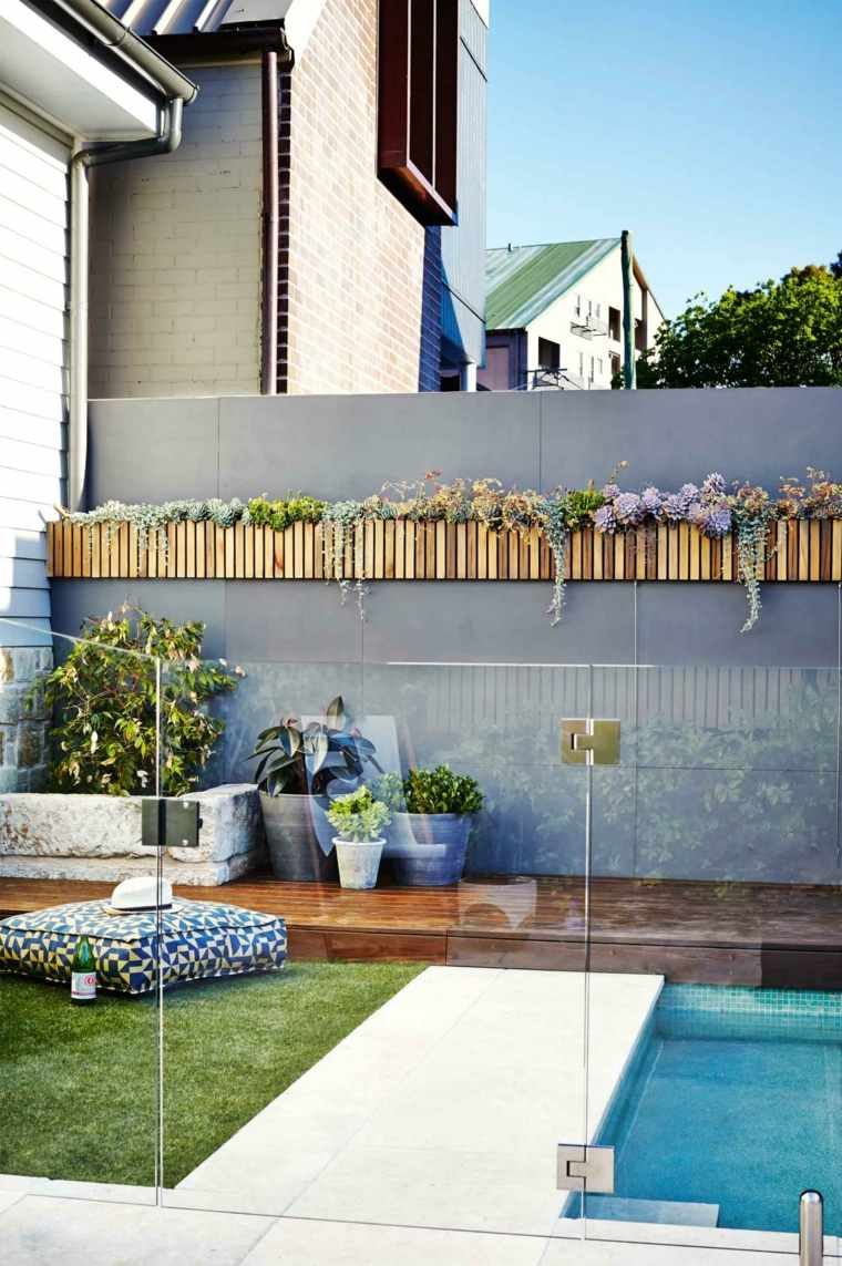 pared macetas palantas jardin diseno contemporaneo ideas