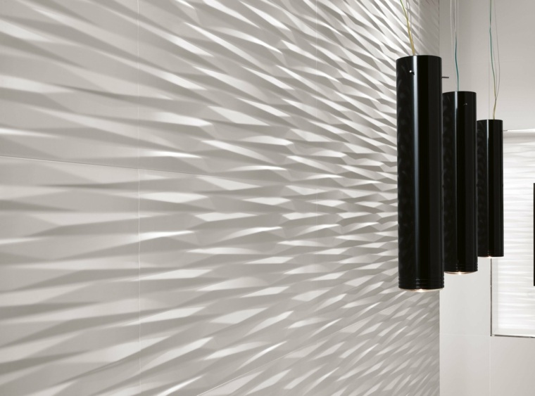 pared blanca relieves modernas deco