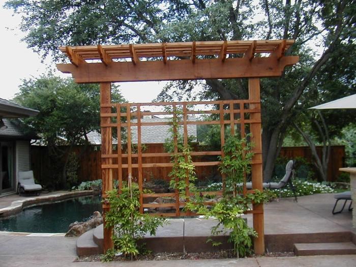 patios ideas exteriores enrejado madera lineas