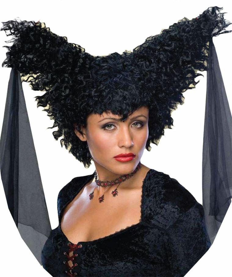 peluca bruja Maléfica con cuernos