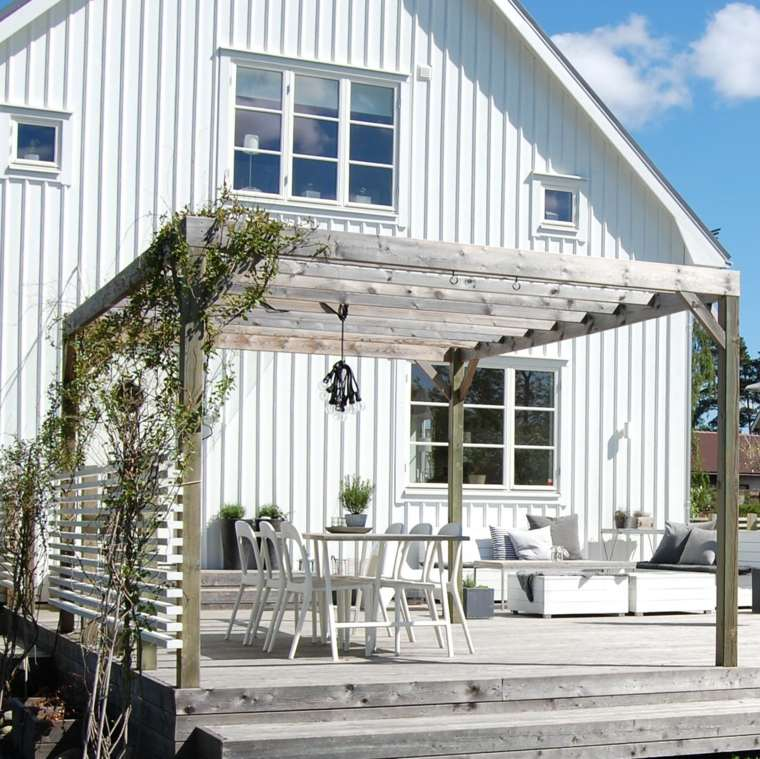 pergolas diseno moderno jardin casa blanca ideas