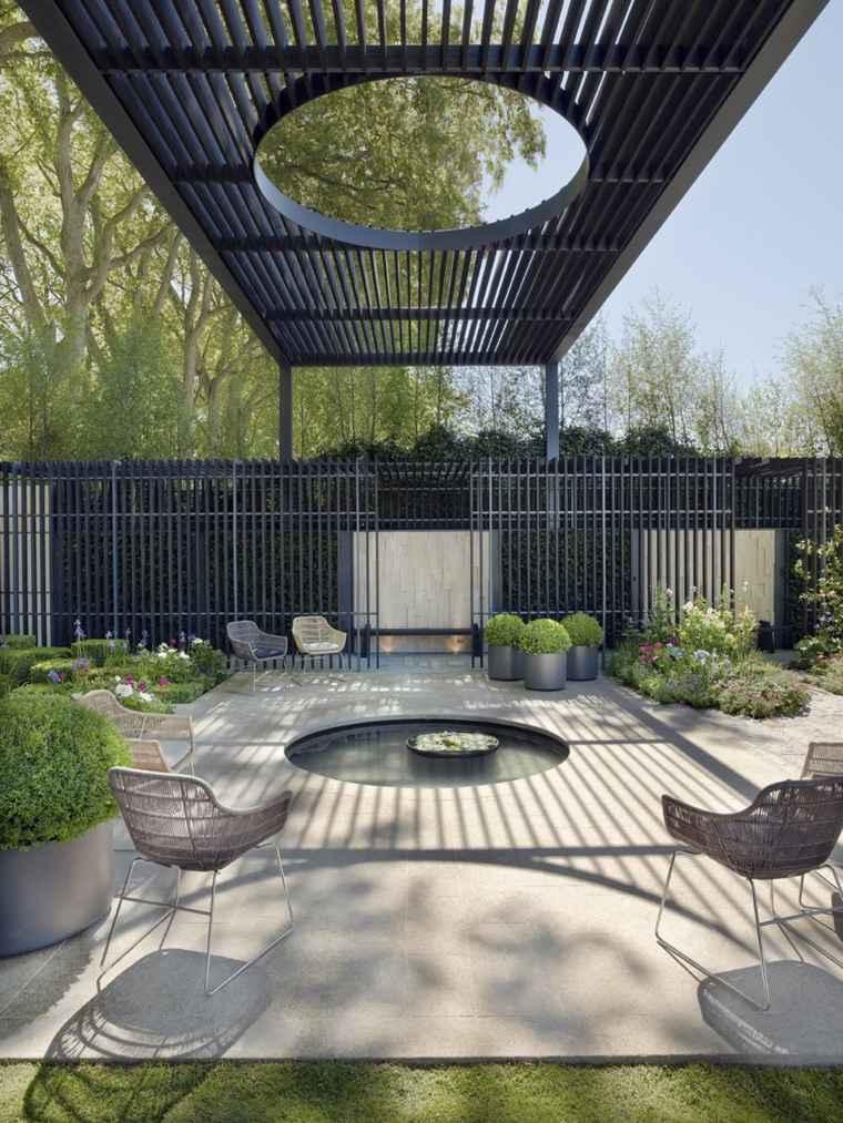 P rgolas dise o moderno para jardines y terrazas for Cubierta estanque