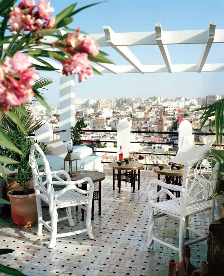 pergolas diseno moderno jardin terraza blanca ideas