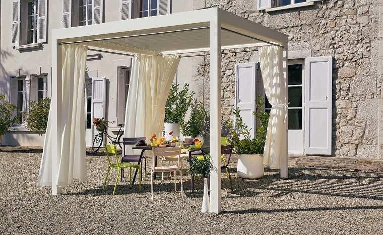 pergolas diseno moderno jardin terraza cortinas blancas ideas