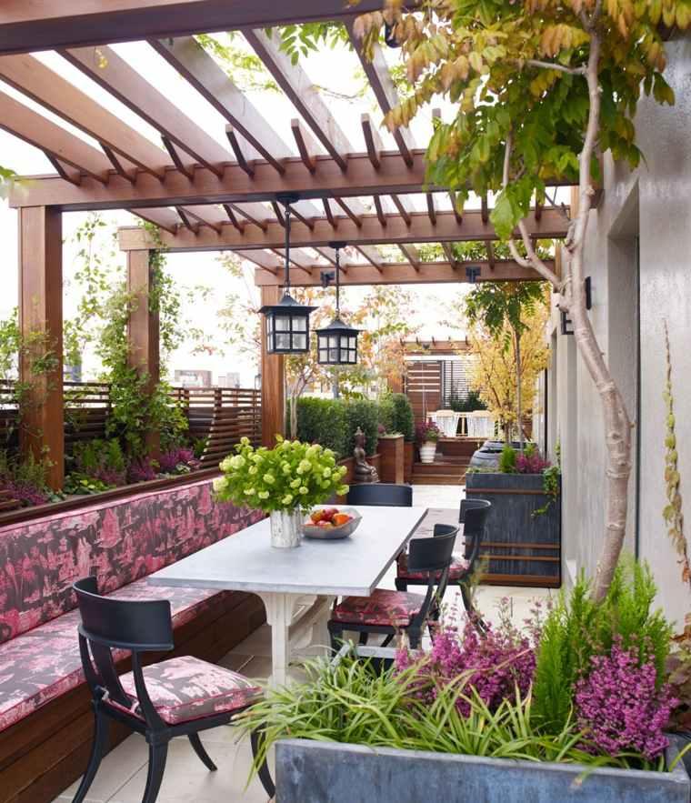 pergola diseno moderno jardin terraza estrecha ideas