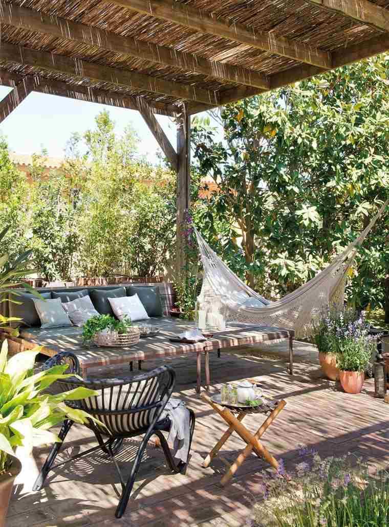 pergola diseno moderno jardin terraza hamaca preciosa ideas