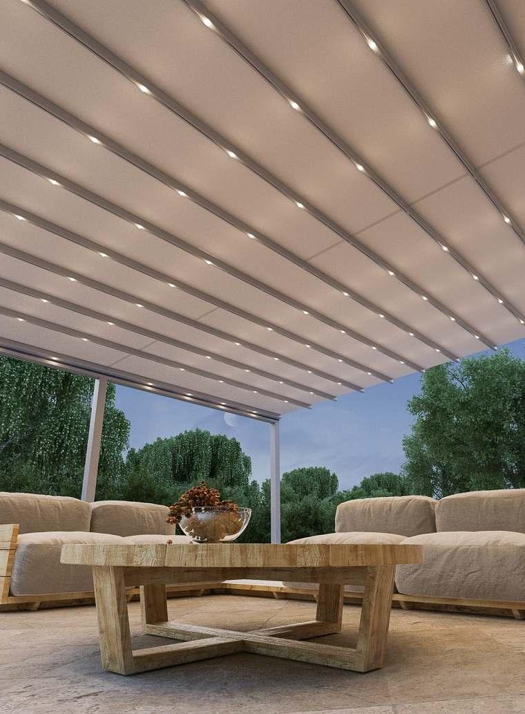 pergola diseno moderno jardin terraza iluminacion LED ideas