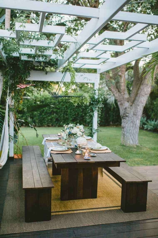 pergola diseno moderno jardin terraza mesa bancos ideas