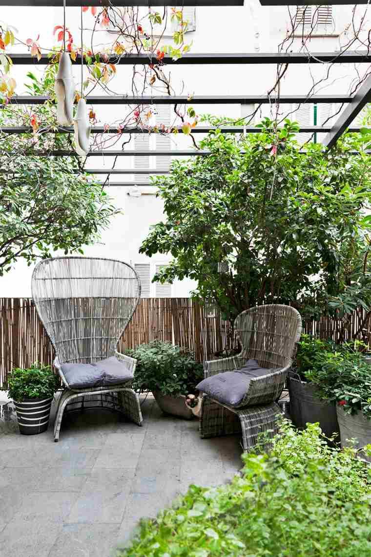 pergola diseno moderno jardin terraza muebles diseno ideas