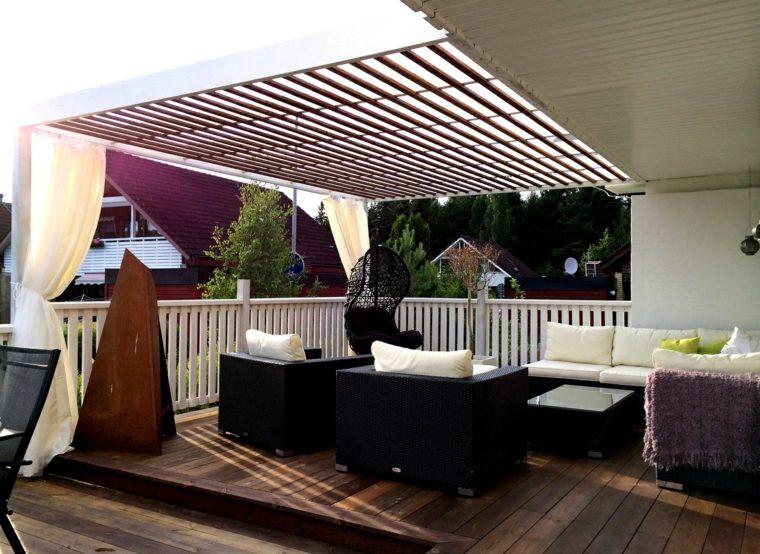 pergola diseno moderno jardin terraza muebles ratan ideas