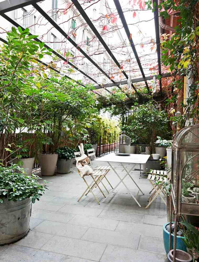 pergola diseno moderno jardin terraza plantas flores ideas