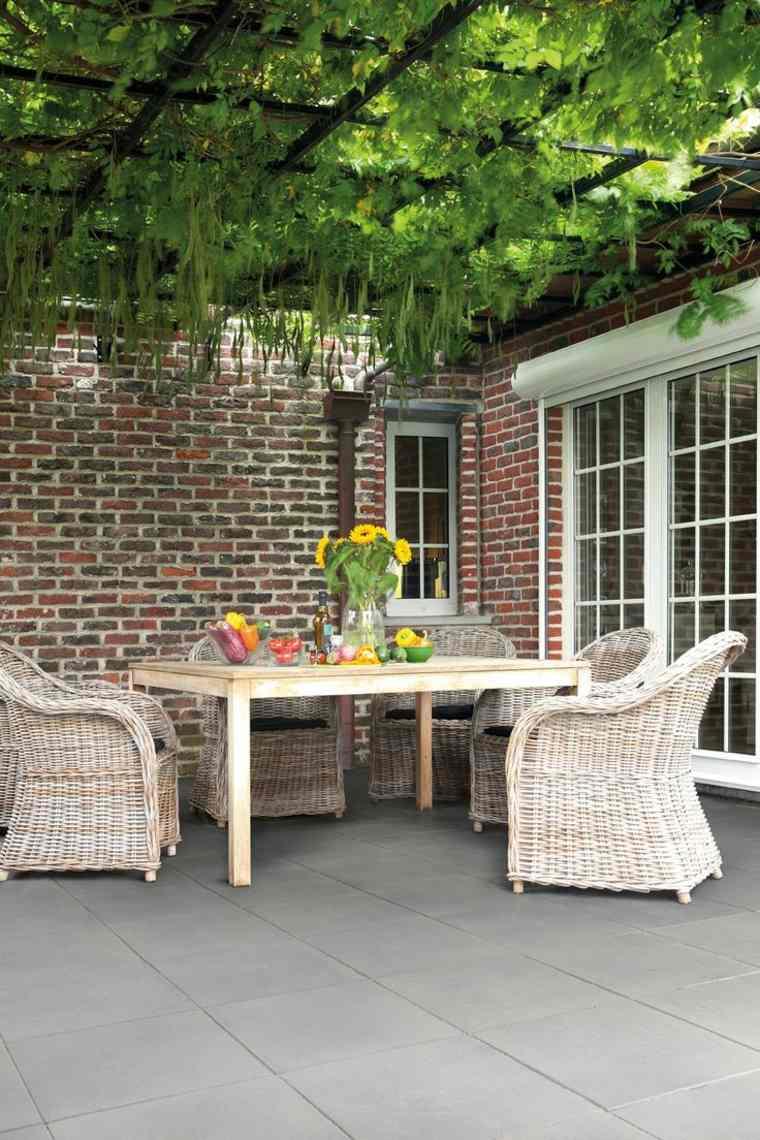 pergola diseno moderno jardin terraza plantas ideas